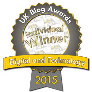 UK Blog Awards Digital and Technology Individual Winner 2015
